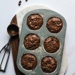 Easy Healthy Double Chocolate Chip Muffins scooped in a muffin tin