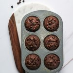 Easy Healthy Double Chocolate Chip Muffins recipe baked in a muffin pan