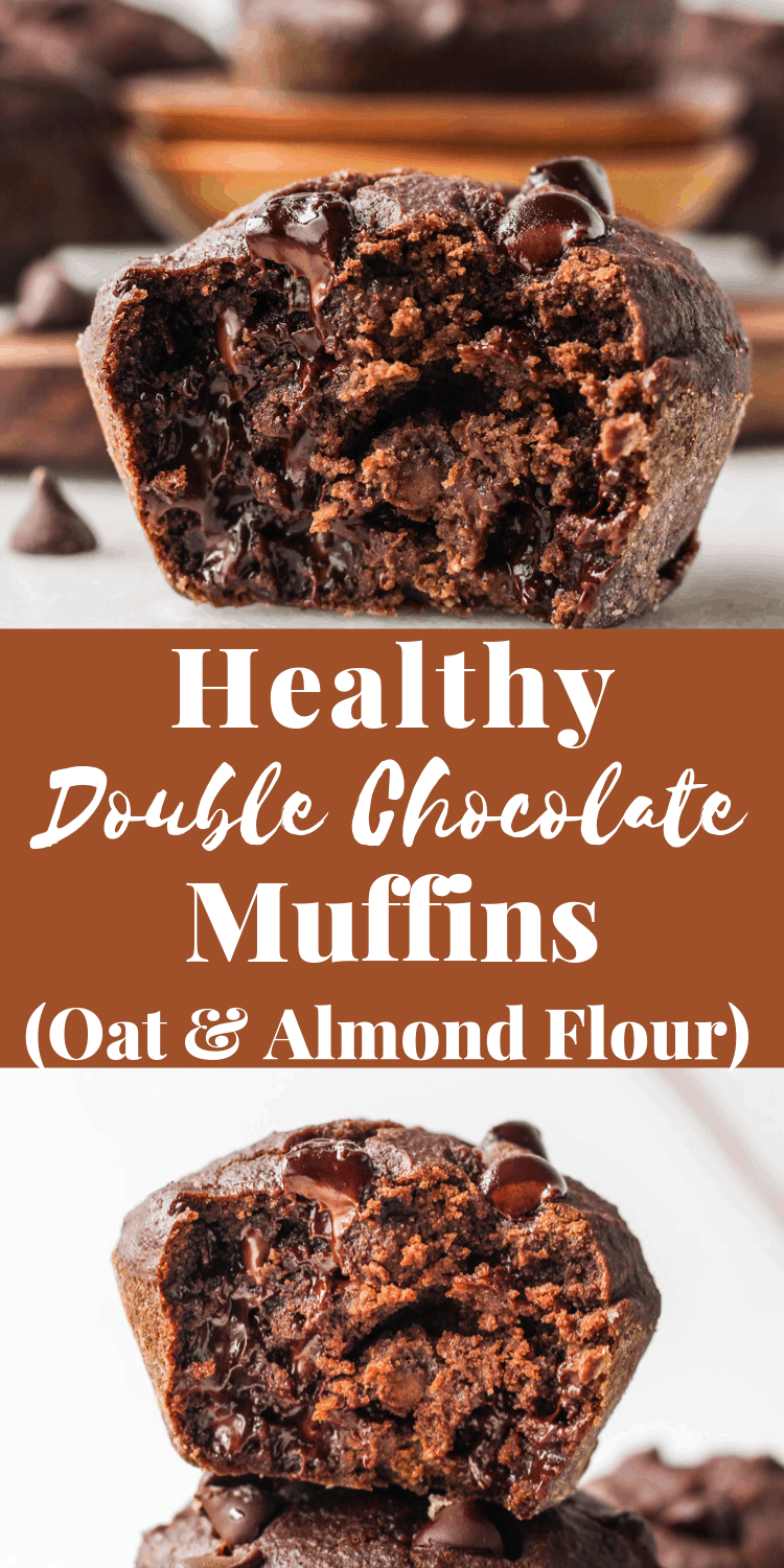 Healthy Double Chocolate Chip Muffins area delicious gluten free breakfast or snack #chocolatechip #chocolatemuffins #glutenfree