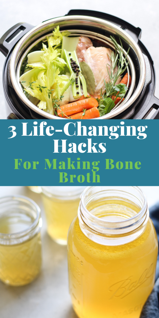 Learn 3 awesome hacks for making bone broth at home in under 3 hours.  Make a bone broth recipe in an instant pot plus more time-saving tips.  #bonebroth
