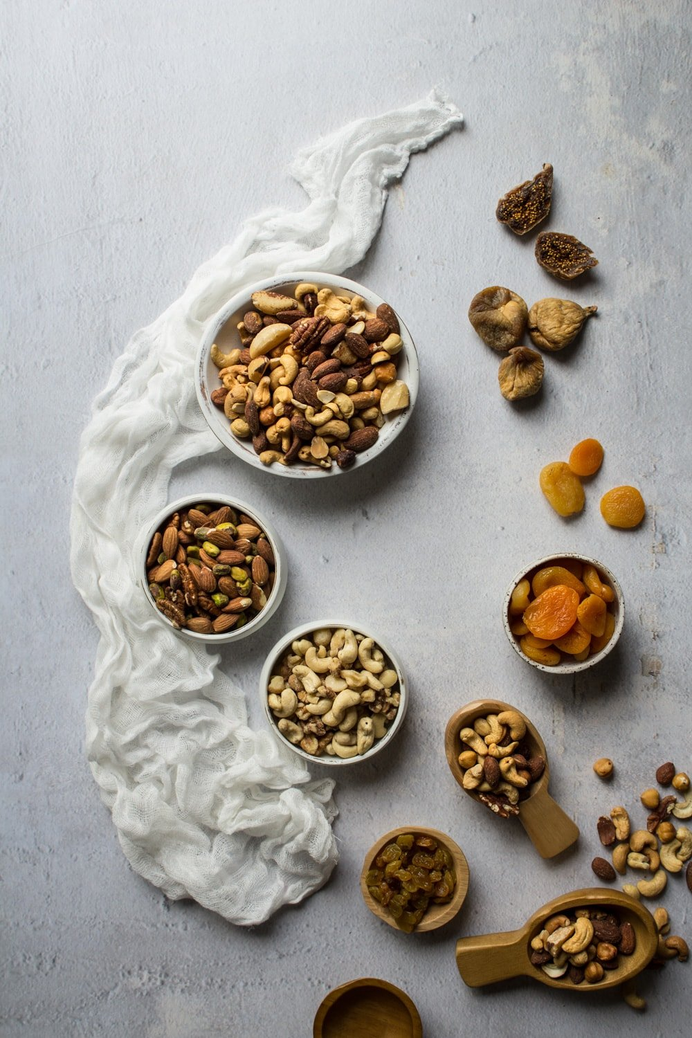 Nuts and dried fruit for a charcuterie cheese board