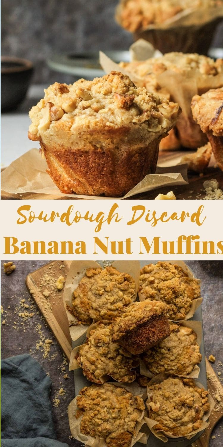 These are the most insanely delicious banana nut muffins with a sourdough discard! via @bessiebakes