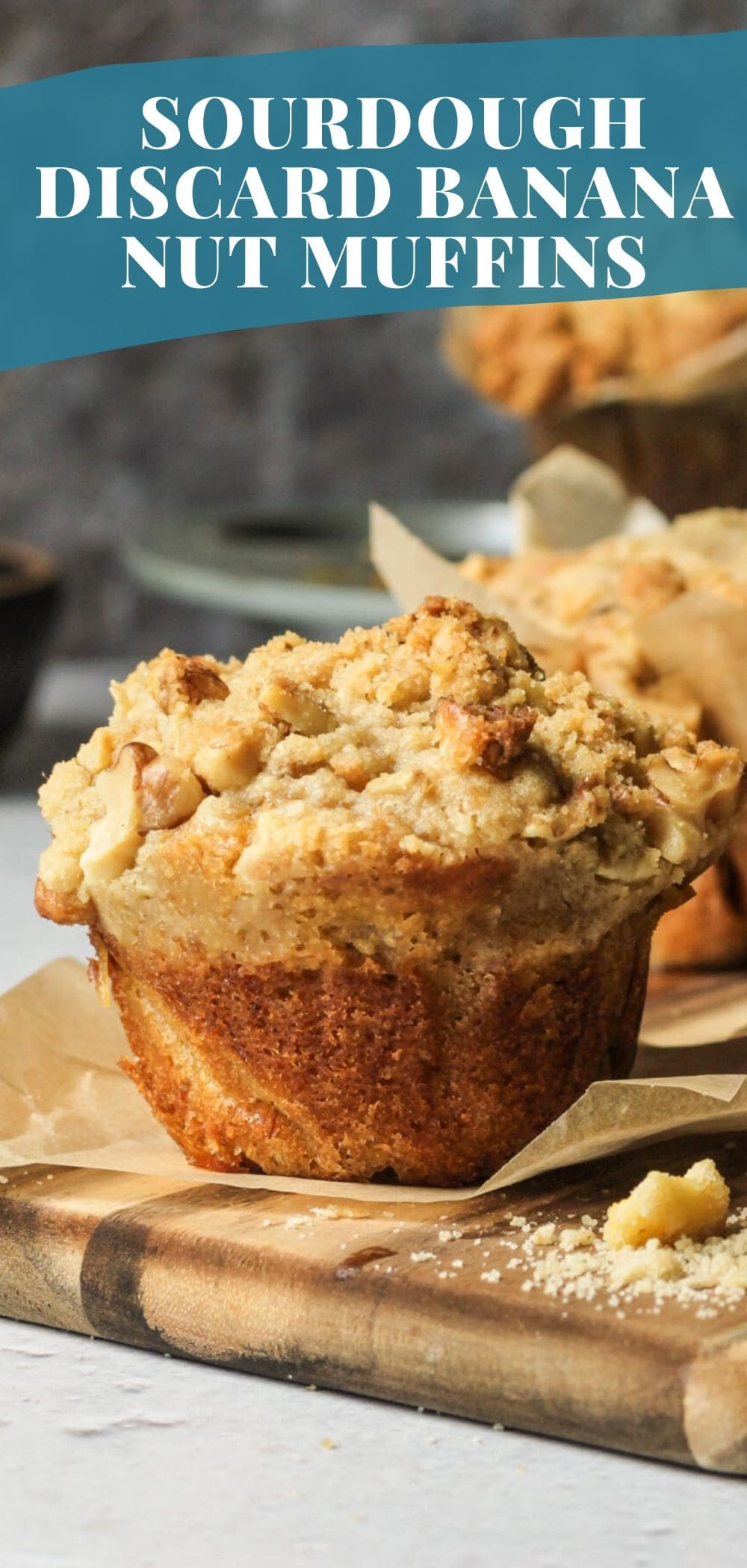The most fluffy and buttery sourdough discard banana nut muffins! via @bessiebakes