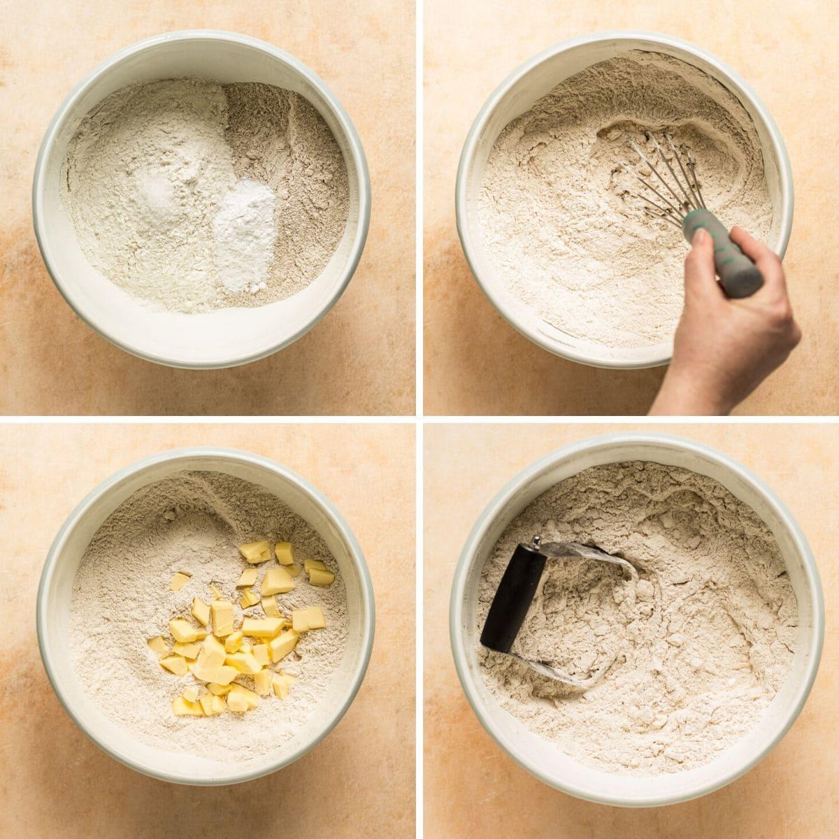 Mixing biscuit dough
