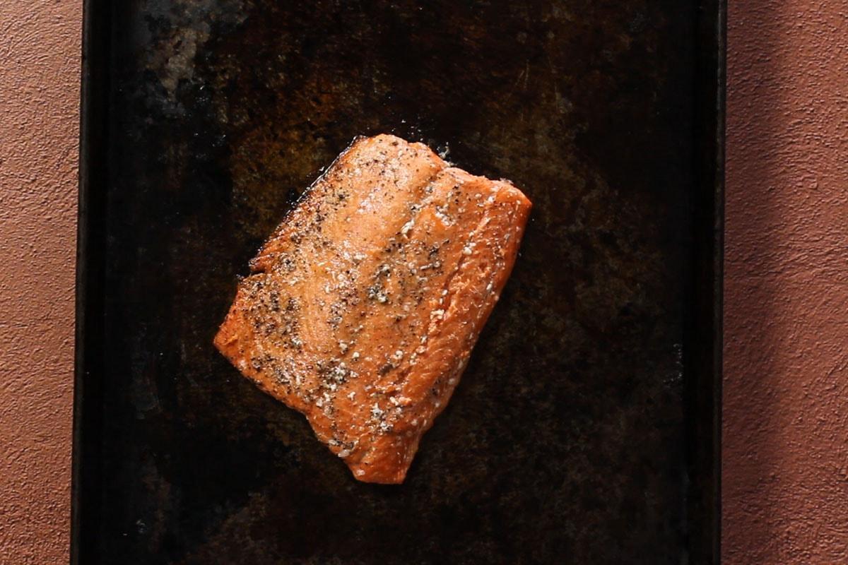 Roasted sockeye salmon on a sheetpan