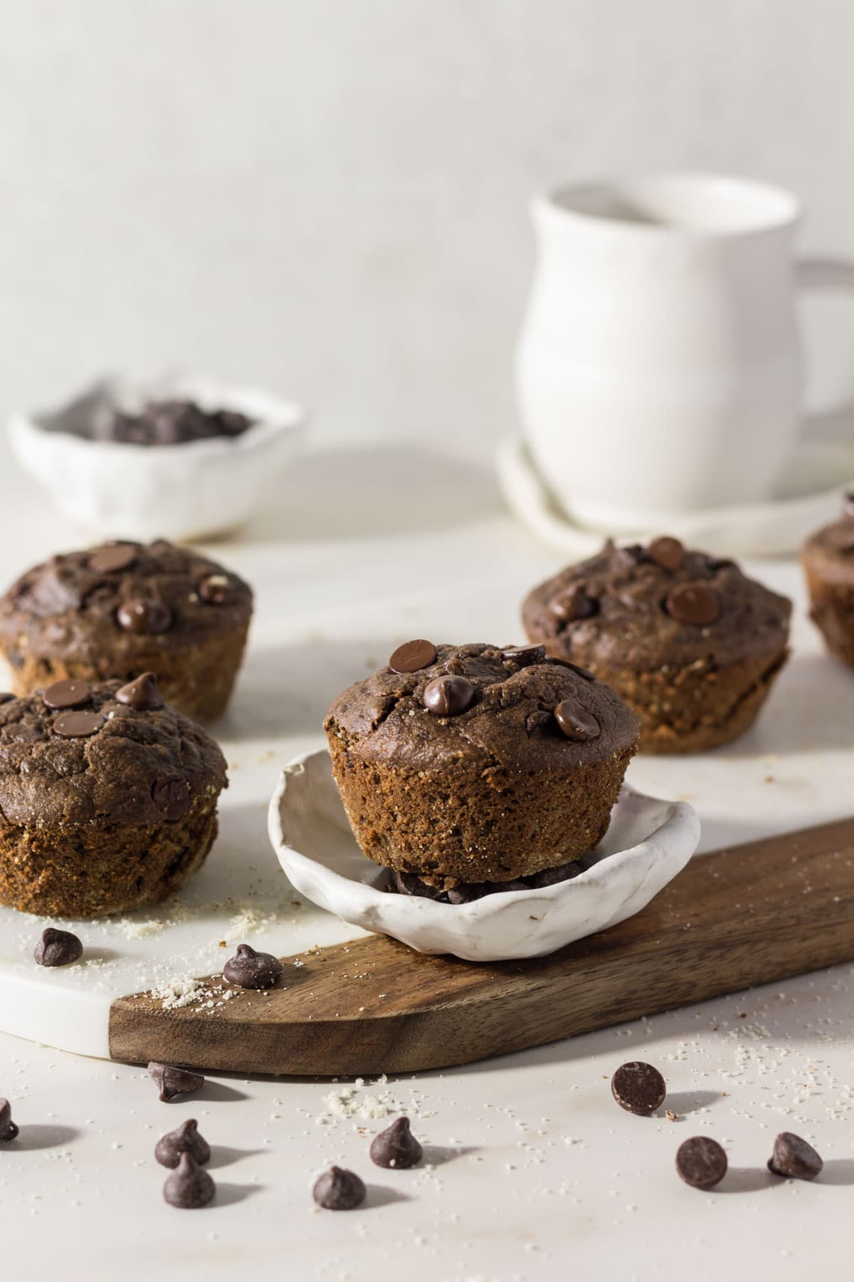 Double Chocolate chip muffins on a marble board