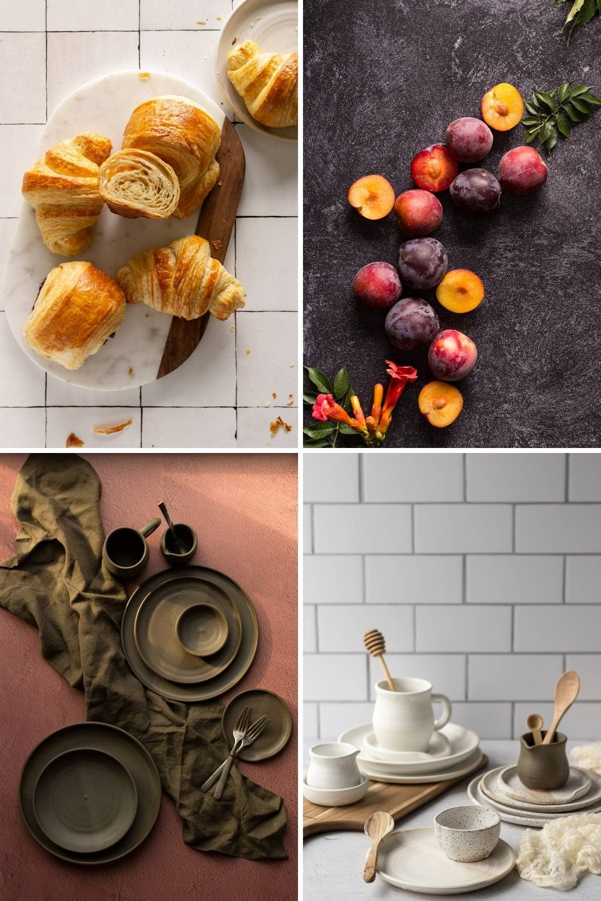 A photo grid of croissants, plums, and pottery