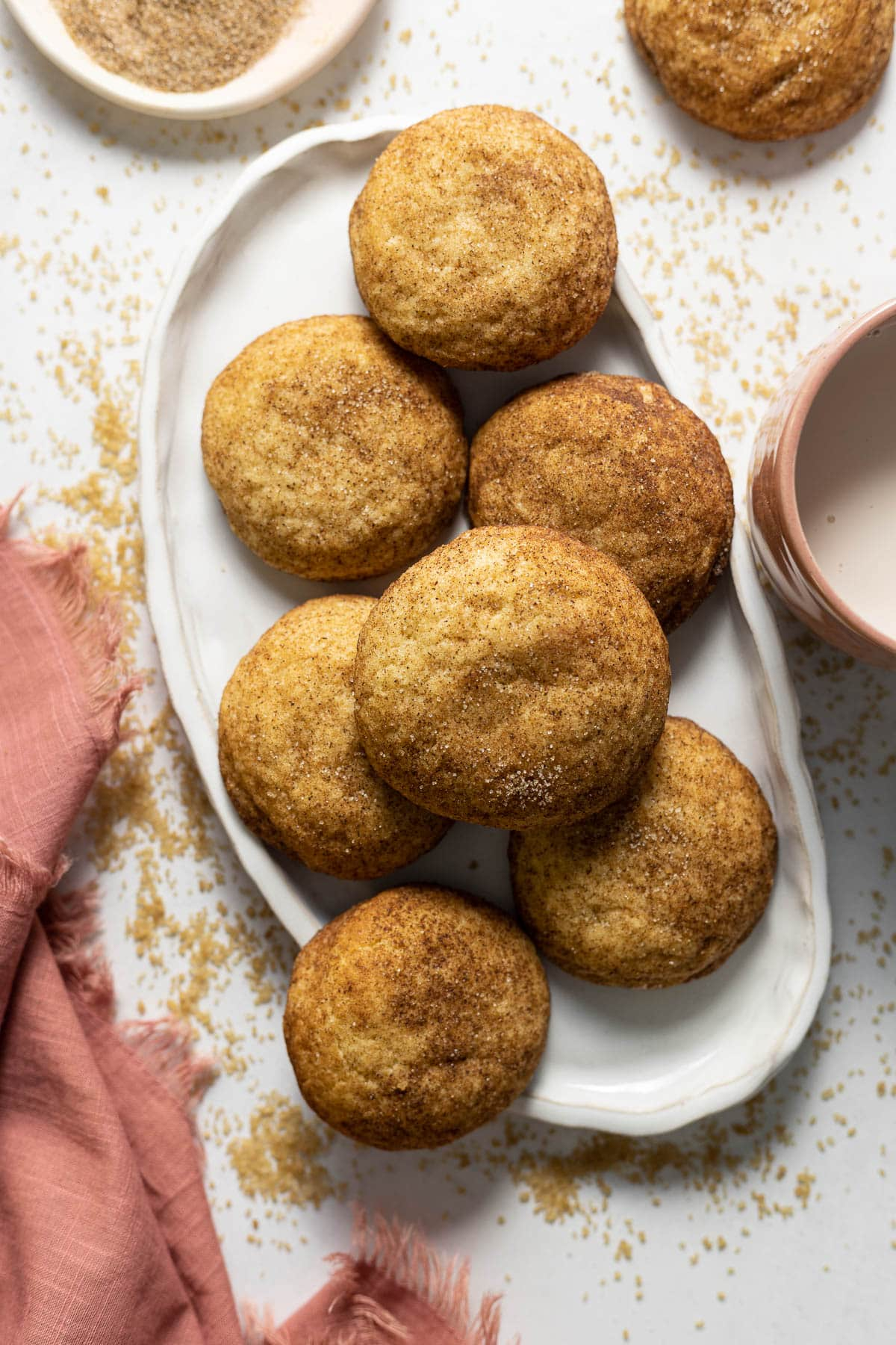 Chai Snickerdoodle Cookies on an oval plate