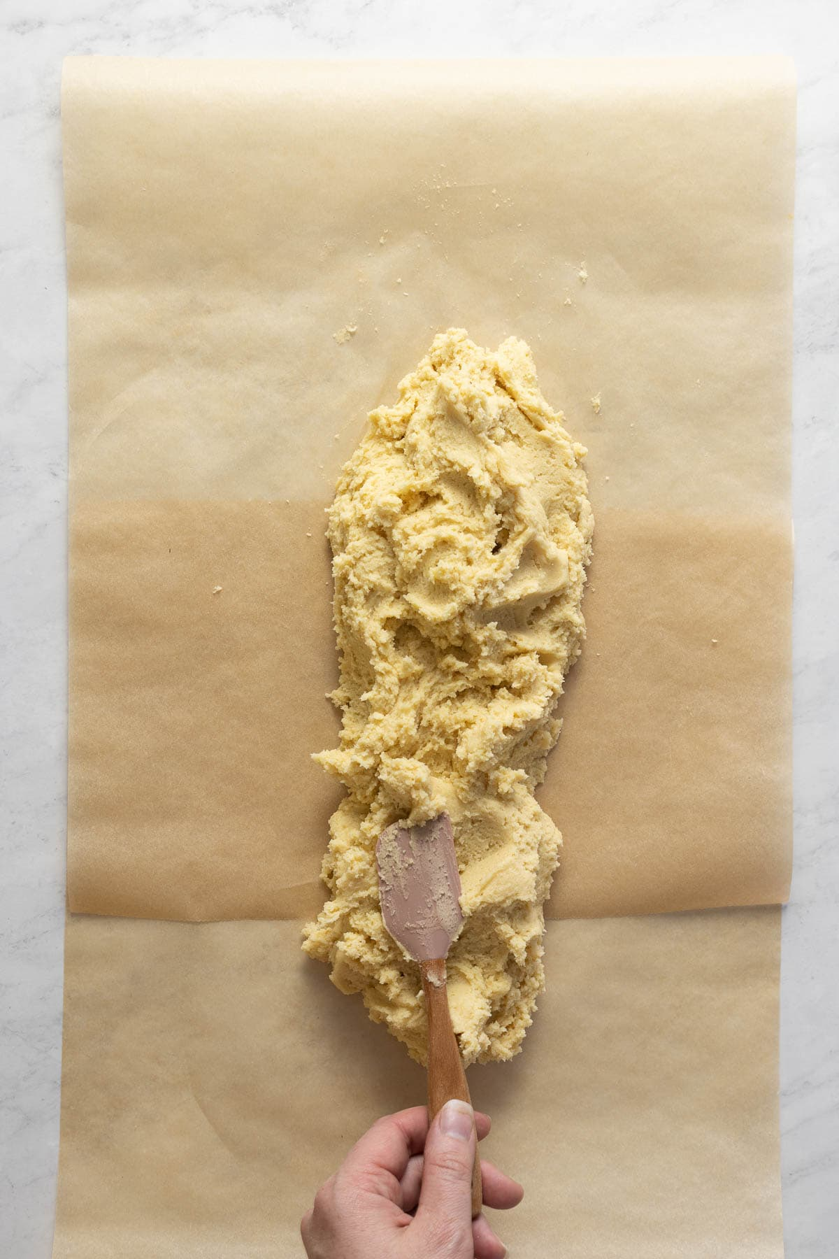 Chai Snickerdoodle cookie dough on parchment