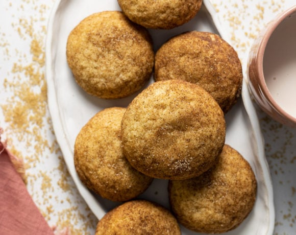 Chai snickerdoodle cookies on a white plate