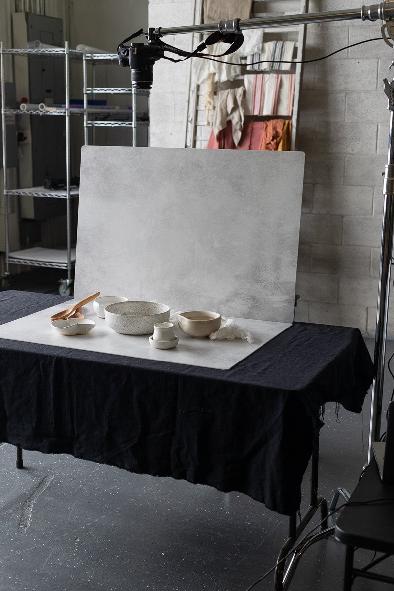 Photography backdrops with a camera overhead