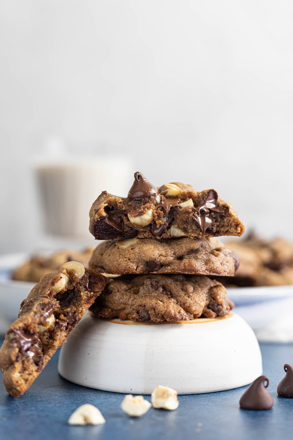 Three double chocolate chip hazelnut cookies on a bowl