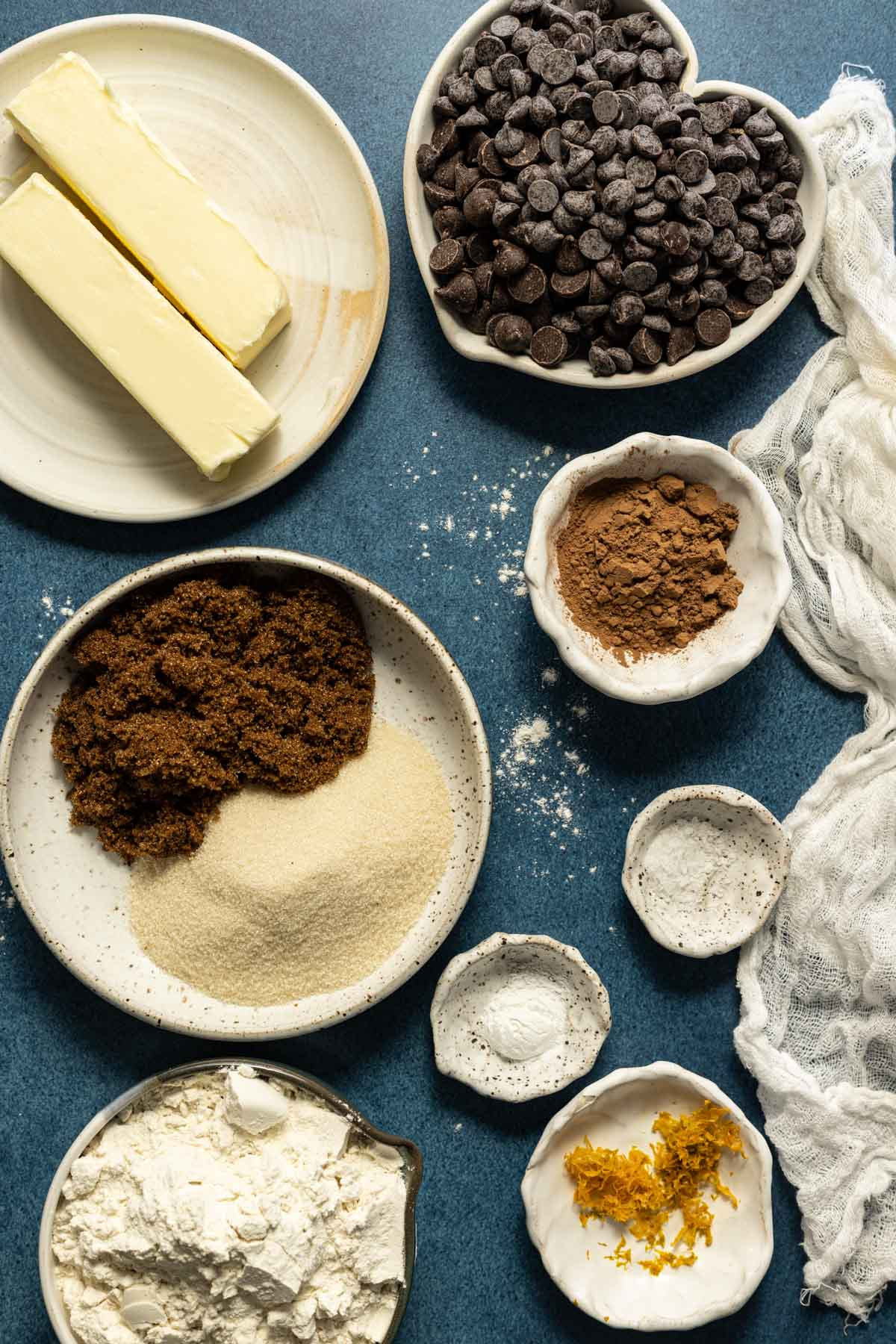 Ingredients for double chocolate chip cookies in bowls