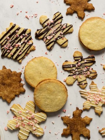 Almond shortbread cookies with chocolate and peppermint drizzled