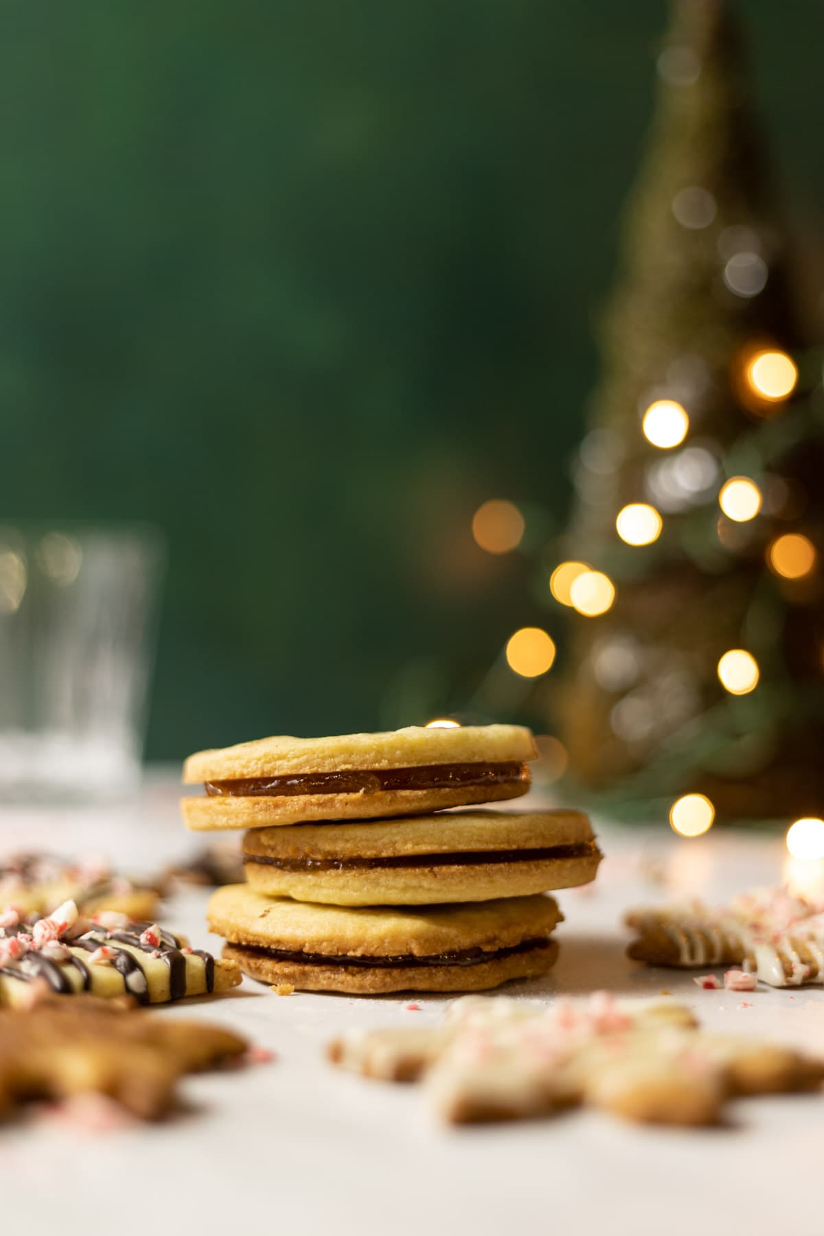 Almond shortbread cookies stacked with christmas lights