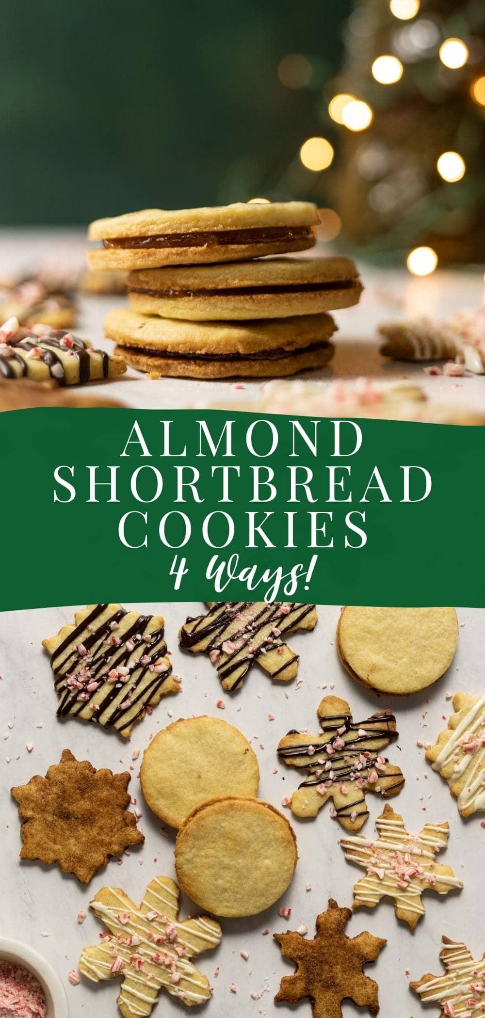 Delectable almond shortbread cookies 4 ways! via @bessiebakes
