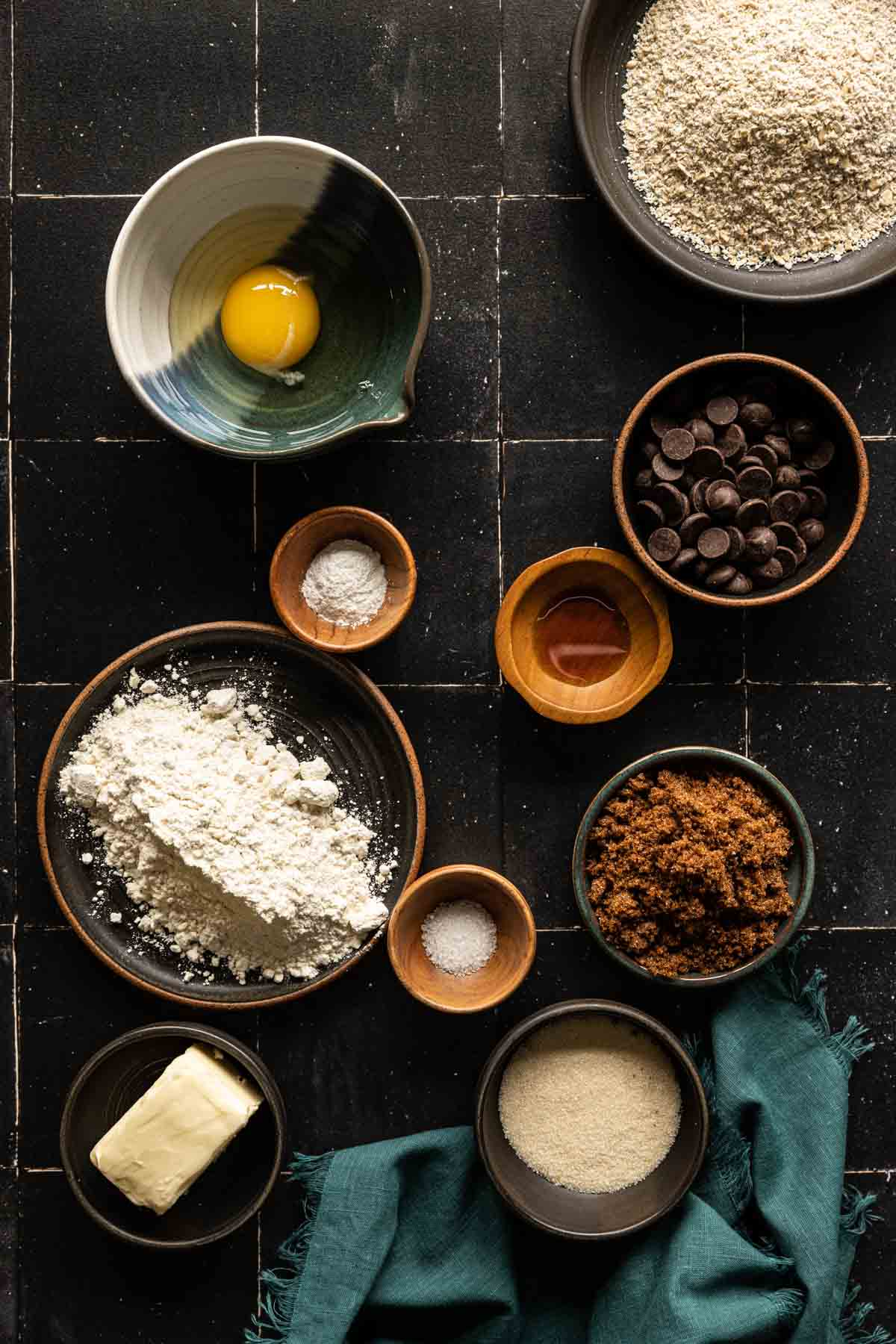 small batch oatmeal chocolate chip cookie ingredients in bowls