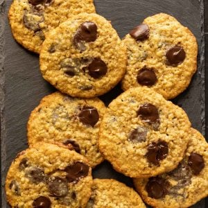 Oatmeal chocolate chip cookies on slate tile