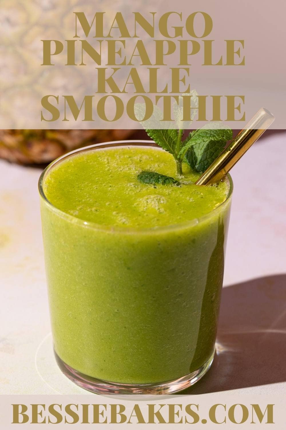 Looking for a good morning boost? This smoothie packs a flavorful punch that has the added benefit of being incredibly refreshing with some ginger, a few sprigs of mint, and pineapple core. via @bessiebakes
