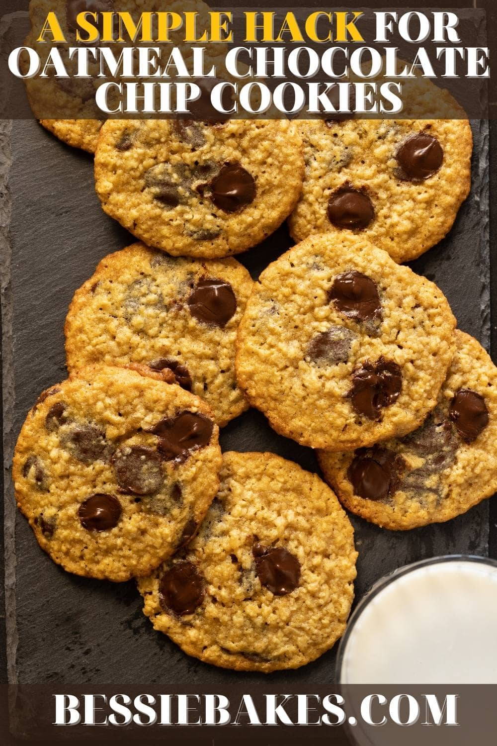 Try this simple but amazing hack for the best oatmeal chocolate chip cookies! via @bessiebakes