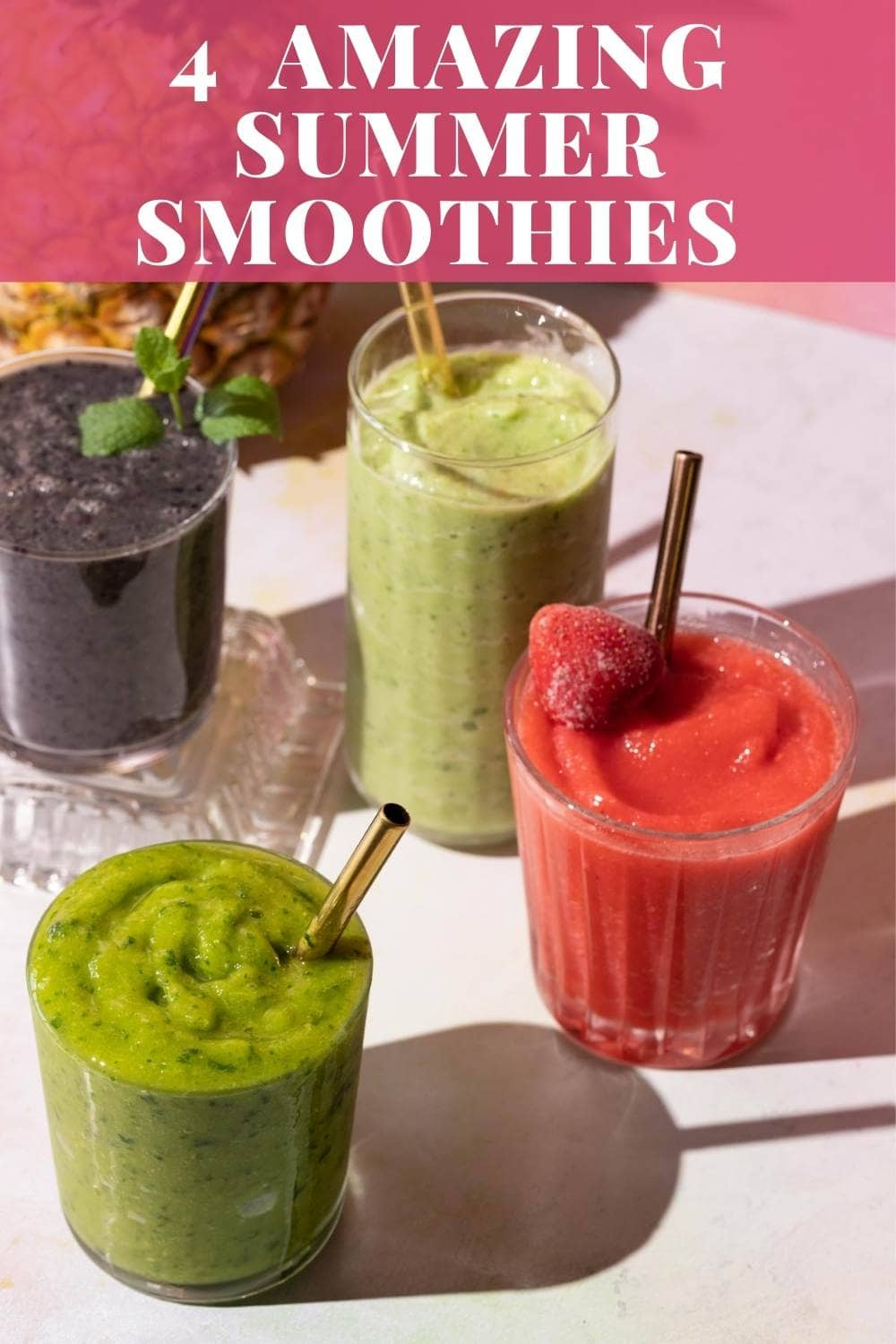 These 4 refreshing fruit smoothies will brighten up your day! via @bessiebakes