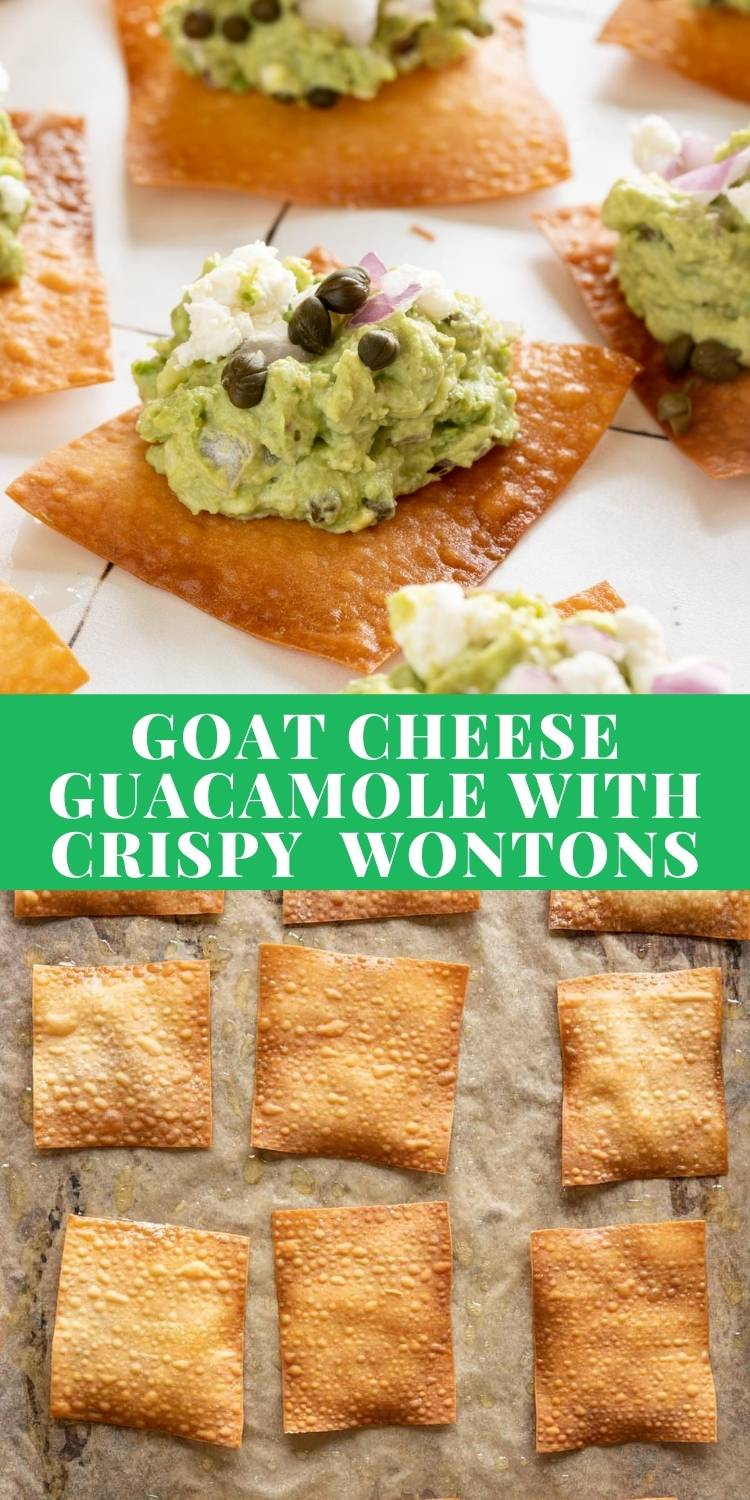 Goat cheese guacamole with crispy wontons is the perfect party appetizer! via @bessiebakes