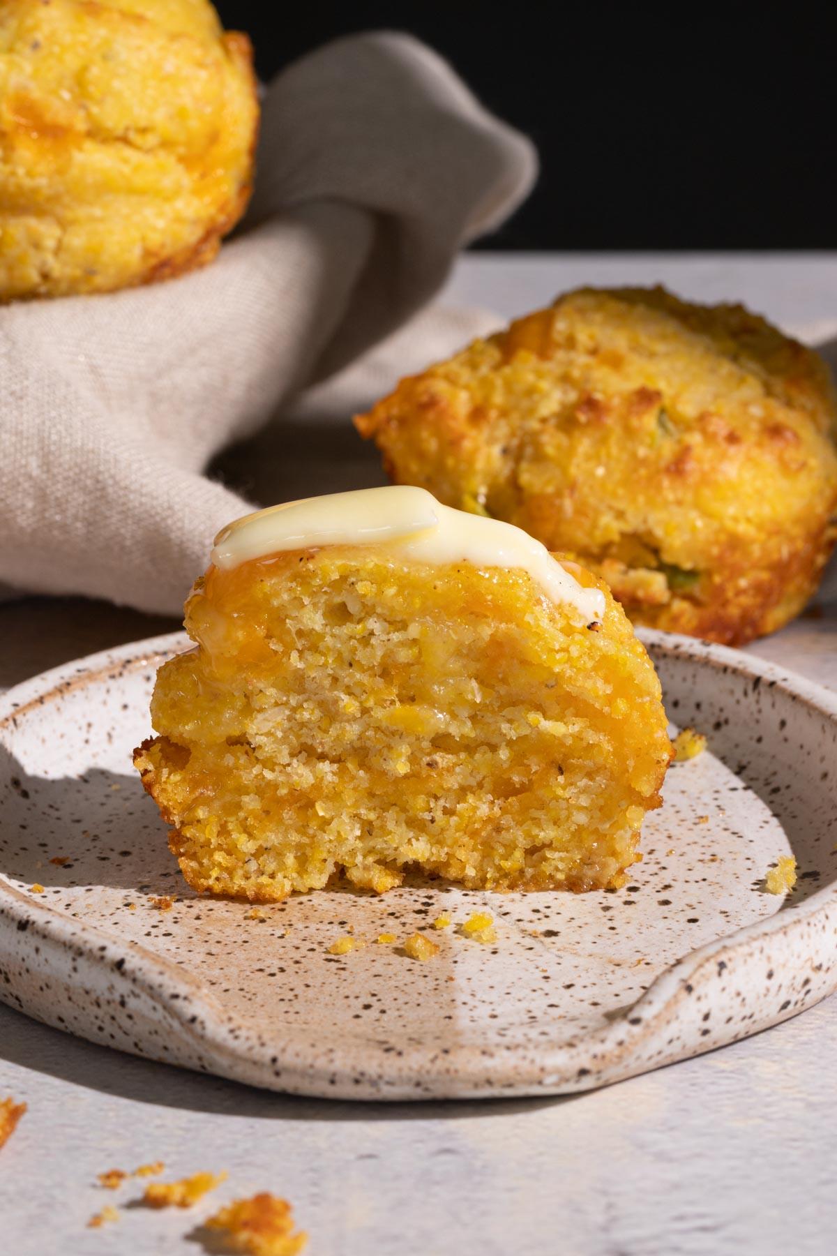 Jalapeno cheddar cornbread muffin on a plate