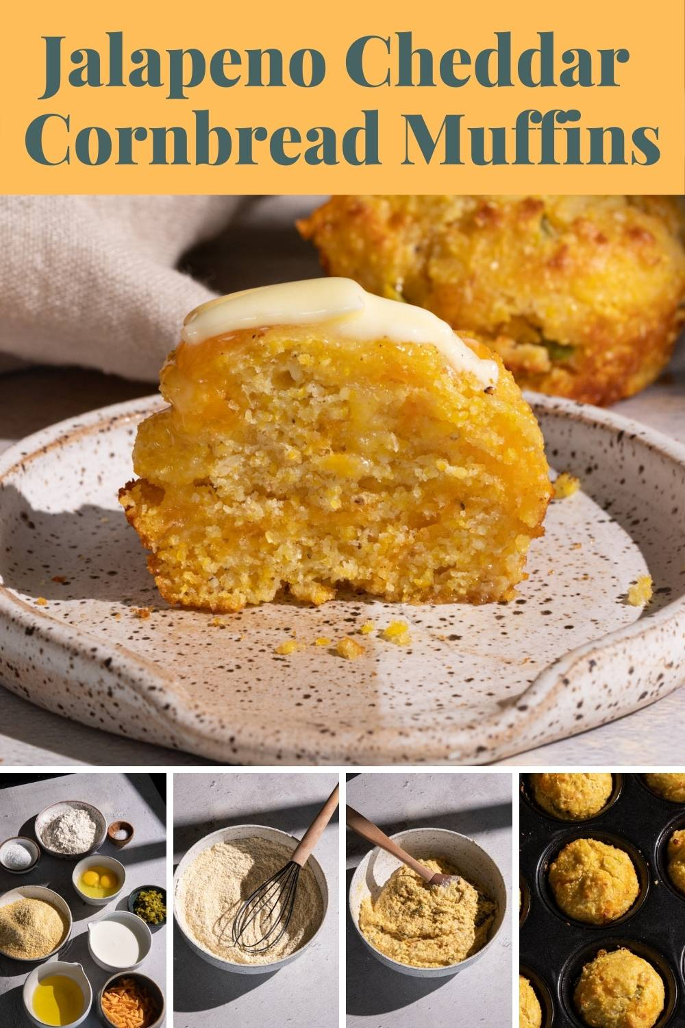 Jalapeno Cheddar Cornbread Muffins are crunchy on the outside and soft on the inside! via @bessiebakes