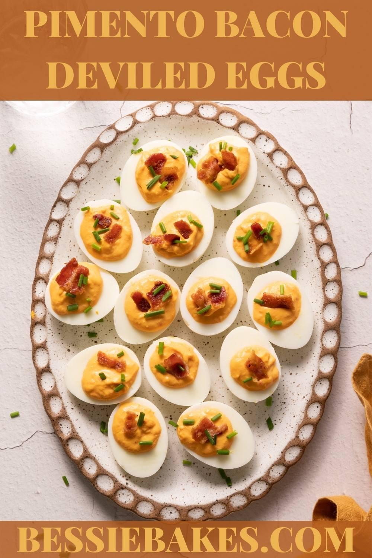 Pimento Bacon Deviled Eggs will be your favorite new deviled egg flavor! via @bessiebakes