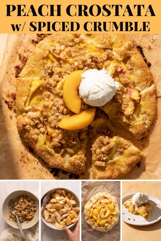 This peach crostata is a cross between a peach pie and peach crisp, but in a no-fuss free-form crostata shape! via @bessiebakes