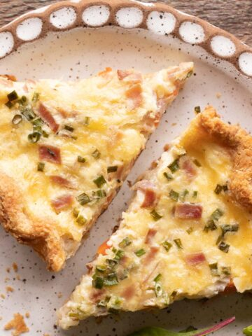 French beer quiche slices on a plate