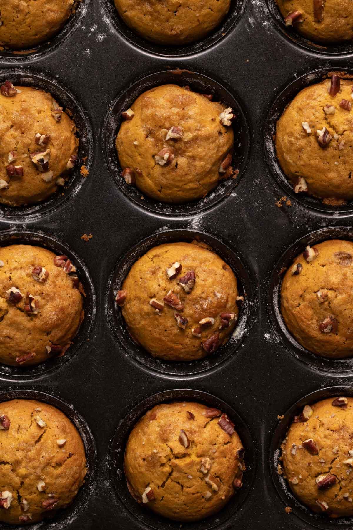 Pumpkin muffins baked in a muffin pan