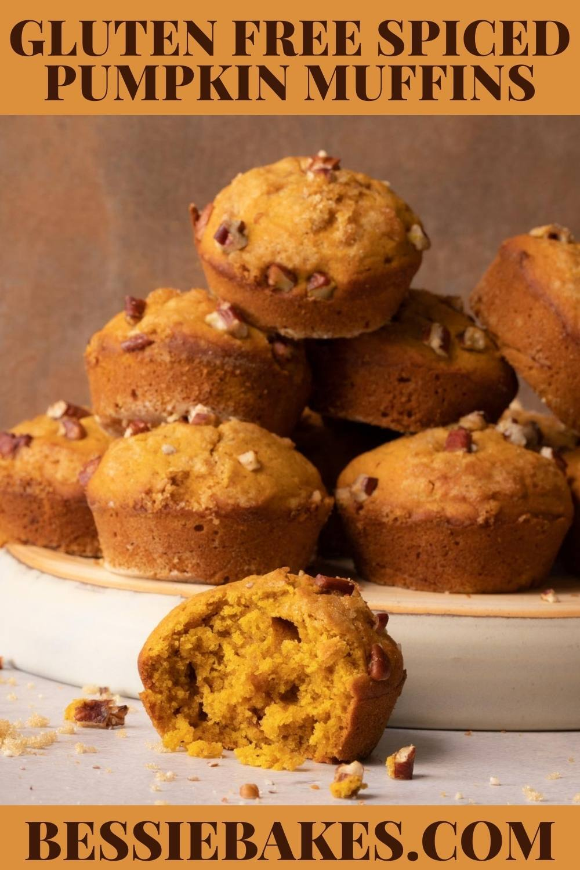 Gluten Free Pumpkin Muffins stacked on a plate via @bessiebakes